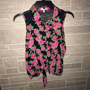 Black tank top with pink roses print